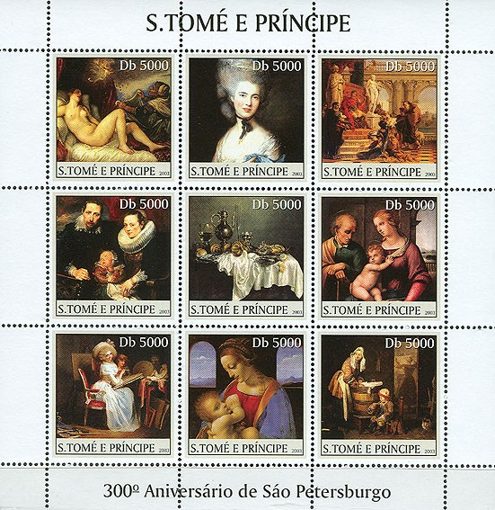 300th Anniversary St. Petersburg (table in the centre) 9v - Issue of Sao Tome and Principe postage stamps