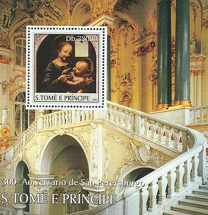 300th Anniversary St. Petersburg (Madonna) s/s - Issue of Sao Tome and Principe postage stamps