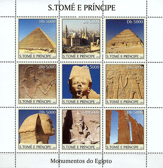 Monuments of Egypt (1st stamp pyramid) 9v - Issue of Sao Tome and Principe postage stamps