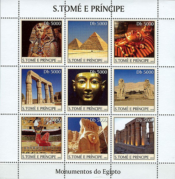 Monuments of Egypt (masque in the centre) 9v - Issue of Sao Tome and Principe postage stamps