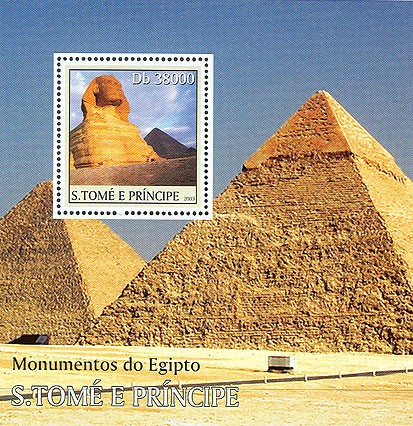 Monuments of Egypt (pyramid in the border) s/s - Issue of Sao Tome and Principe postage stamps