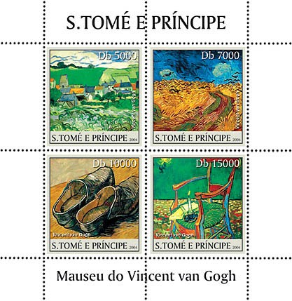 Museum of Vincent Van Gogh 4v - Issue of Sao Tome and Principe postage stamps