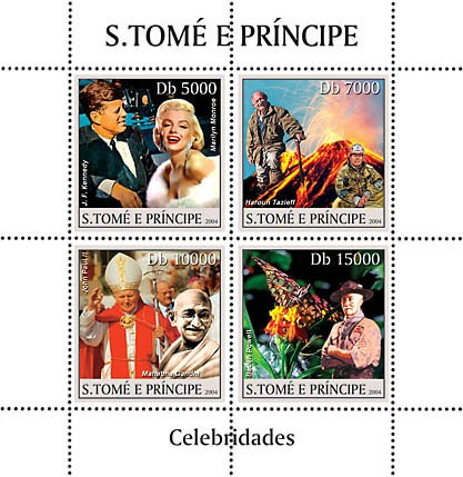 Celebrities 4v: Marilyn Monroe & J.Kennedy, Tazieff, Pope & Gandhi, B. Powell & scouts - Issue of Sao Tome and Principe postage stamps