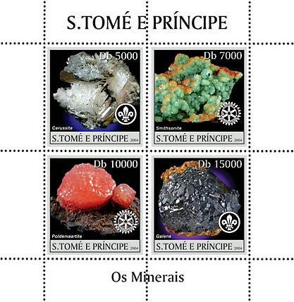 Minerals 4v: 2v with scouts logo, 2v with Rotary logo - Mineraux - Issue of Sao Tome and Principe postage stamps