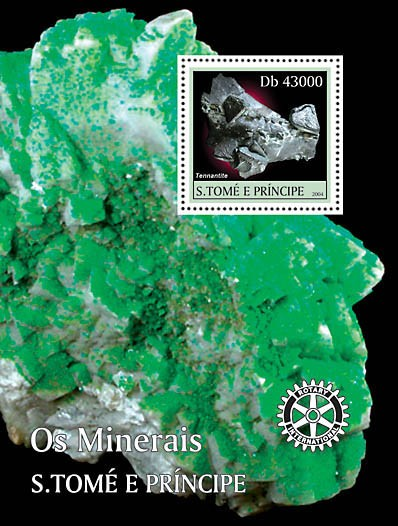 Minerals s/s with Rotary logo - Mineraux - Issue of Sao Tome and Principe postage stamps