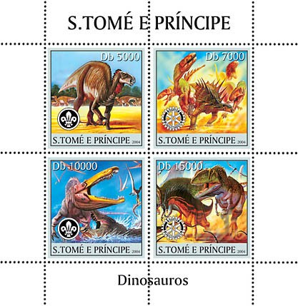 Dinosaurs 4v: 2v with scouts logo, 2v with Rotary logo - Issue of Sao Tome and Principe postage stamps