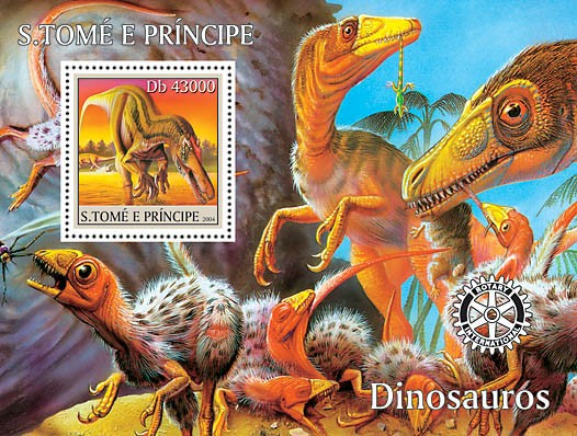 Dinosaurs s/s with Rotary logo - Issue of Sao Tome and Principe postage stamps