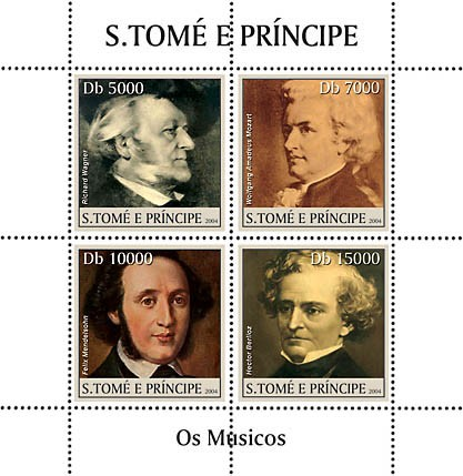 Musicians 4v with great classic composers - Les Musiciens - Issue of Sao Tome and Principe postage stamps