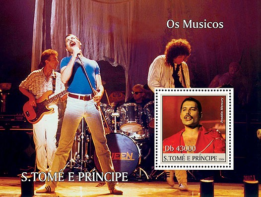 Musicians s/s with F. Mercury & his band Queen - Les Musiciens - Issue of Sao Tome and Principe postage stamps