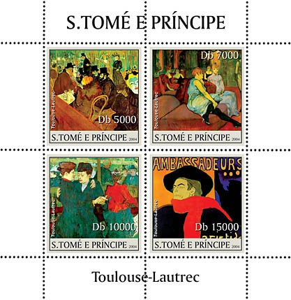 Paintings of Toulouse-Lautrec 4v - Peintures - Bilder - Issue of Sao Tome and Principe postage stamps