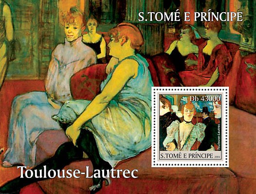 Paintings of Toulouse-Lautrec s/s - Peintures - Bilder - Issue of Sao Tome and Principe postage stamps