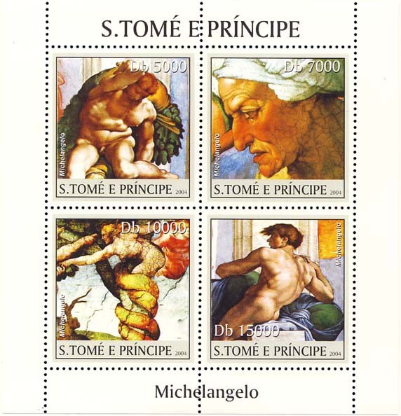 Art of Michelangelo 4v - Issue of Sao Tome and Principe postage stamps
