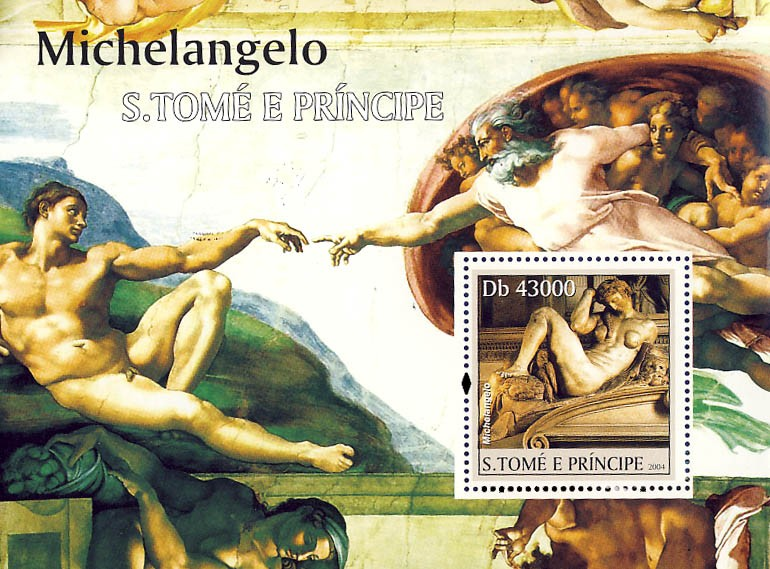 Art of Michelangelo s/s - Issue of Sao Tome and Principe postage stamps