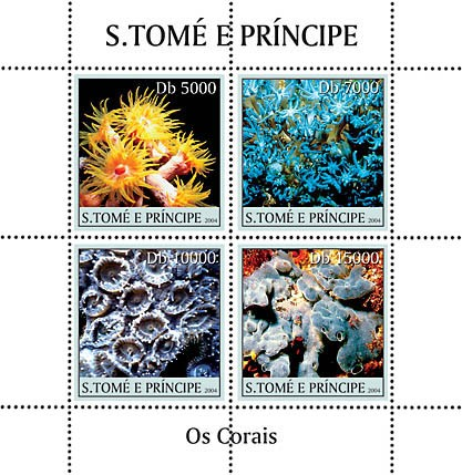Paradise of the Oceanic - corals 4v Coraux - Issue of Sao Tome and Principe postage stamps