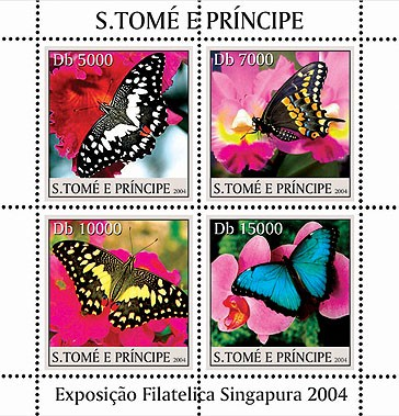 Butterflies on orchids - Papillions sur des orchidees 4v - Issue of Sao Tome and Principe postage stamps