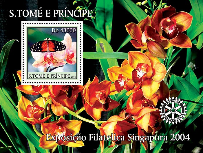 Butterflies on orchids - Papillions sur des orchidess s/s - Issue of Sao Tome and Principe postage stamps