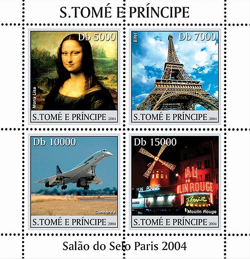 Paris: Mona Lisa, Concorde, Moulin Rouge, Tour Eiffel 4v - Issue of Sao Tome and Principe postage stamps