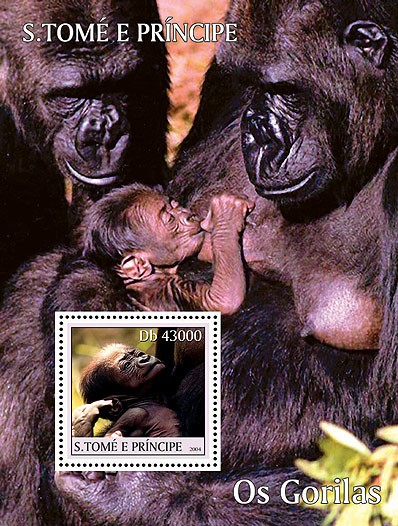 Gorillas - Les Gorilles s/s - Issue of Sao Tome and Principe postage stamps