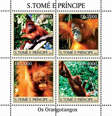 Orangutangs - Les Orang-outangs 4v - Issue of Sao Tome and Principe postage stamps