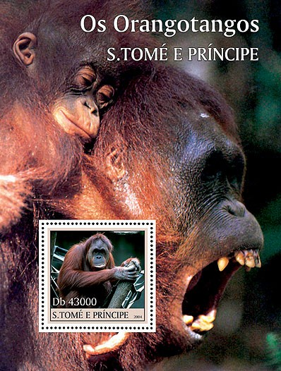 Orangutangs - Les Orang-outangs s/s - Issue of Sao Tome and Principe postage stamps
