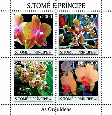 Orchids - Les orchidees 4v - Issue of Sao Tome and Principe postage stamps