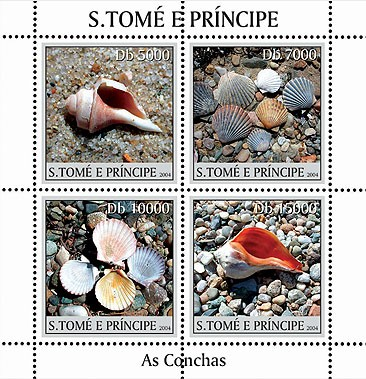 Shells - Les coquillages 4v - Issue of Sao Tome and Principe postage stamps