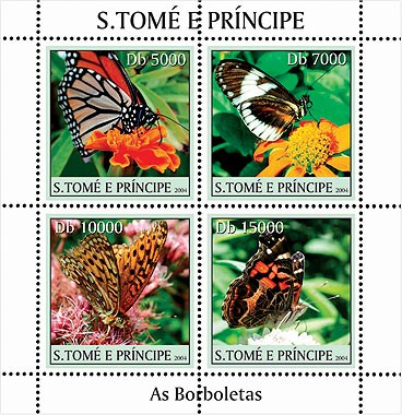 Butterflies - Les Papillions 4v - Issue of Sao Tome and Principe postage stamps