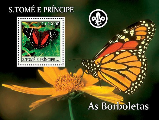 Butterflies - Les Papillions s/s (+scouts) - Issue of Sao Tome and Principe postage stamps