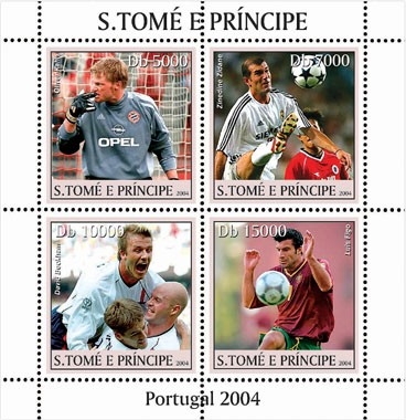 Soccer/football Portugal 2004 4v - Issue of Sao Tome and Principe postage stamps