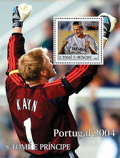 Soccer/football Portugal 2004 s/s (David Beckham) - Issue of Sao Tome and Principe postage stamps