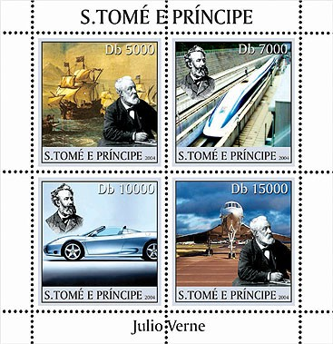 Jules Verne (sailships-bateaux, trains, cars-voitures, Concorde) 4v - Issue of Sao Tome and Principe postage stamps