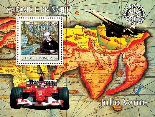 Jules Verne (sailships-bateaux, Ferrari, Concorde) s/s (+Rotary) - Issue of Sao Tome and Principe postage stamps