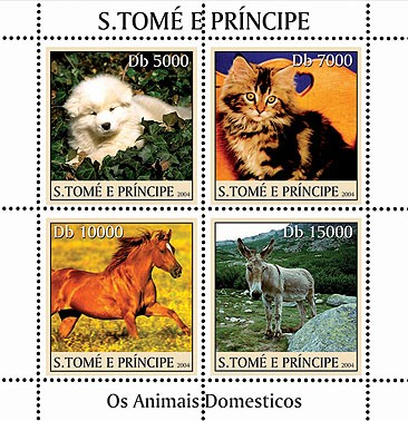 Domestic animals - Les animaux domestiques 4v - Issue of Sao Tome and Principe postage stamps