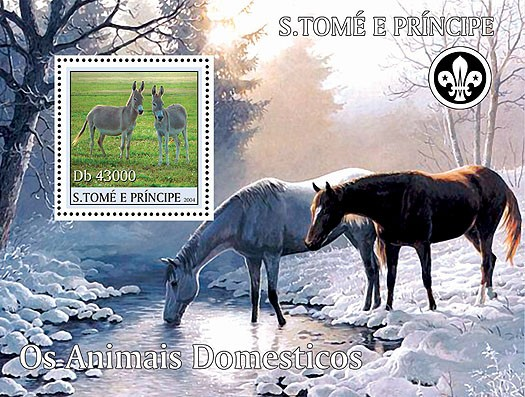 Domestic animals - Les animaux domestiques s/s (+scouts) - Issue of Sao Tome and Principe postage stamps