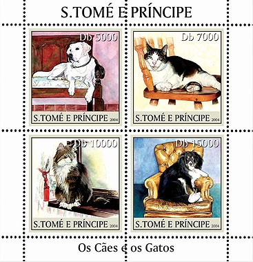 Dogs & cats - Les chiens & les chats 4v - Issue of Sao Tome and Principe postage stamps