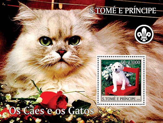 Dogs & cats - Les chiens & les chats s/s (+scouts) - Issue of Sao Tome and Principe postage stamps