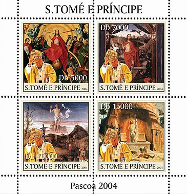 Easter - Paques: paintings - peintures  & Pope 4v - Issue of Sao Tome and Principe postage stamps