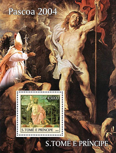 Easter - Paques: paintings - peintures  & Pope s/s - Issue of Sao Tome and Principe postage stamps