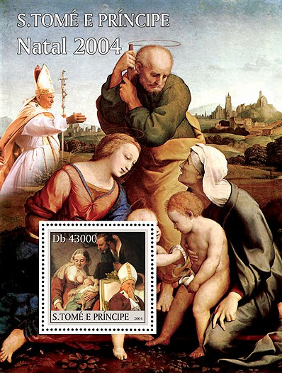 Xmas - Noel: paintings - peintures  & Pope s/s - Issue of Sao Tome and Principe postage stamps