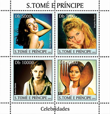 Celebrities: Monroe, Bardot, Garbo, Lauren 4v - Issue of Sao Tome and Principe postage stamps