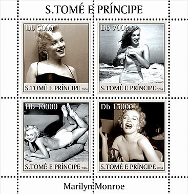 Marilyn Monroe 4v - Issue of Sao Tome and Principe postage stamps