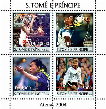 Sports - Athenes 2004: basket, tennis, football 4v - Issue of Sao Tome and Principe postage stamps