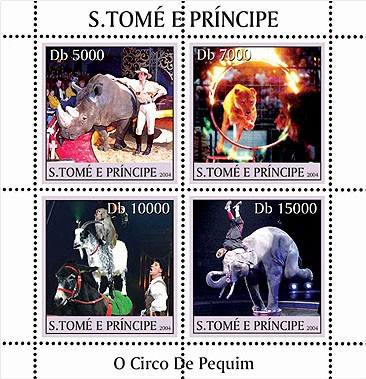 Animals - Animaux (Cirque de Peking) 4v - Issue of Sao Tome and Principe postage stamps