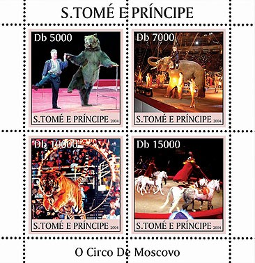 Animals - Animaux (Cirque de Moscou) 4v - Issue of Sao Tome and Principe postage stamps