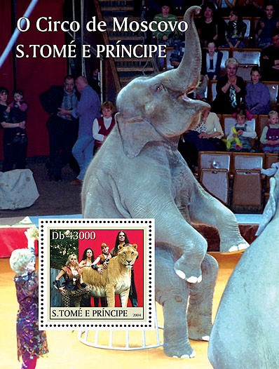 Animals - Animaux (Cirque de Moscou) s/s - Issue of Sao Tome and Principe postage stamps
