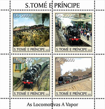 Locomotives - Les trains a vapeurs 4v - Issue of Sao Tome and Principe postage stamps