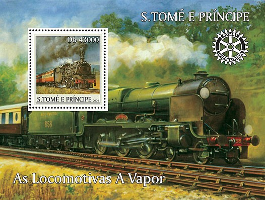 Locomotives - Les trains a vapeurs s/s (+Rotary) - Issue of Sao Tome and Principe postage stamps