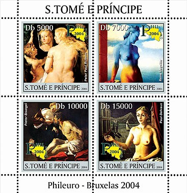 Nude paintings - Les peintures Belgiques - Phileuro 2004 4v - Issue of Sao Tome and Principe postage stamps