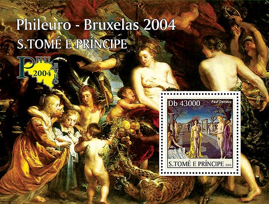 Nude paintings - Les peintures Belgiques - Phileuro 2004 s/s - Issue of Sao Tome and Principe postage stamps
