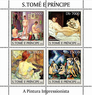 Paintings - Tableux impressionnistes 4v - Issue of Sao Tome and Principe postage stamps